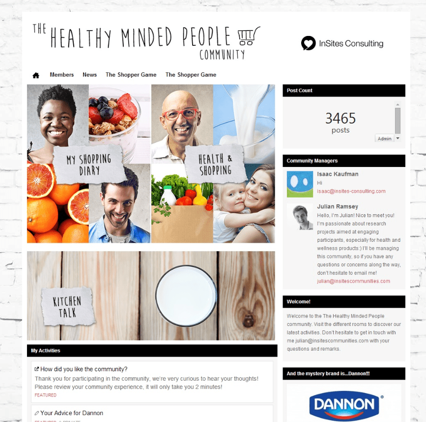 Dannon Health Minded People community